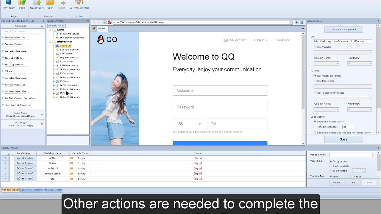 BotChief Editor - How to use SMS Service with actions in BotChief Editor