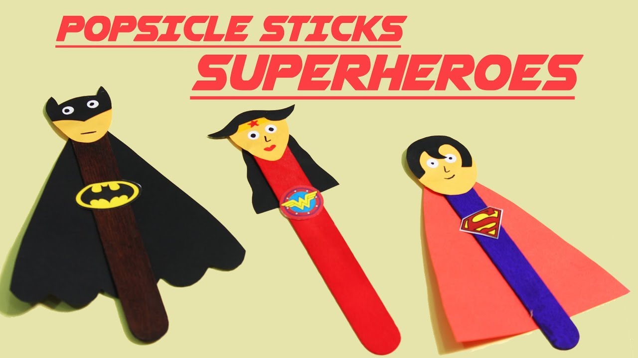 Quick & easy Superhero Popsicle Crafts | Diy Popsicle Stick Crafts ...