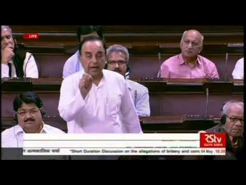 Shri Subramanian Swamy nails Congress party's lies on #AgustaWestland Scam in Rajya Sabha.