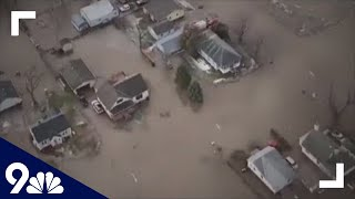 RAW video: Aerial view of the flooding damage in Nebraska