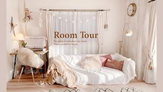 【ルームツアー】大人かわいいインテリアでBOHO風の部屋 ナチュラル DIY デスクとベッド周り  japanese room tour