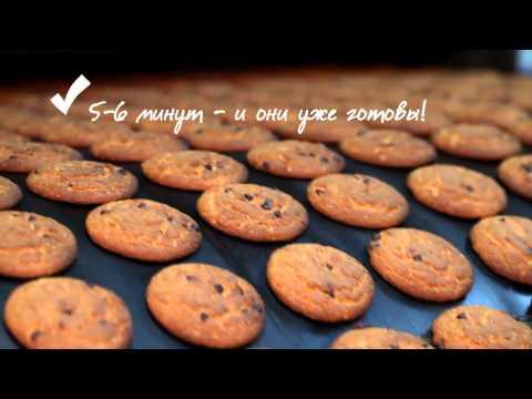 Производство овсяного печенья на кондитерской фабрике конвейер