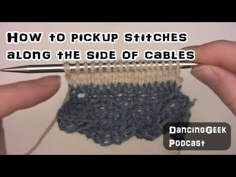 How to pickup stitches along the side of cables in knitting - YouTube
