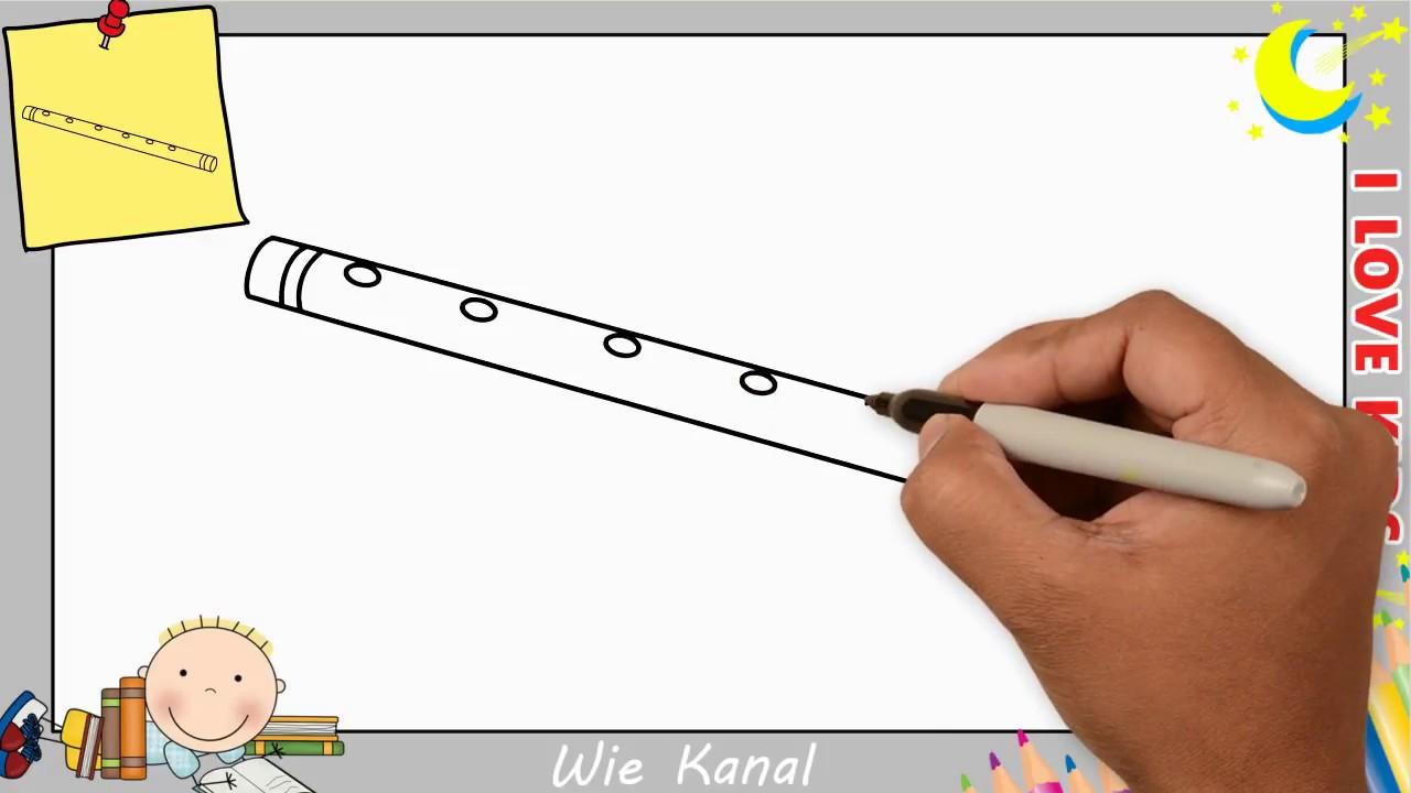 Wie zeichnet man eine Flöte schritt für schritt für anfänger & kinder 6
