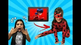 JULIA COMO LADYBUG SALTOU DO TABLET ! LAdybug jumped out of the tablet