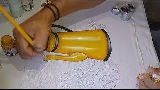 Roberto Ferreira – Aprenda a Desenhar Rosas e Pintar Bule Amarelo – parte 1