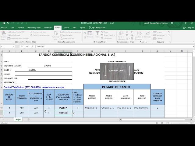 Tandor Comercial, explicación para completar Plantilla para optimización de cortes correctamente.