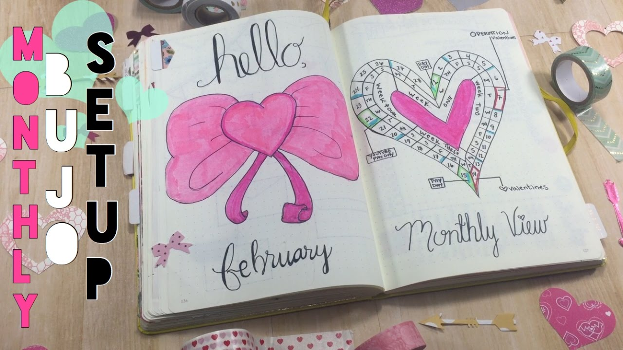 February Bullet Journal Setup Monthly Weekly Cleaning