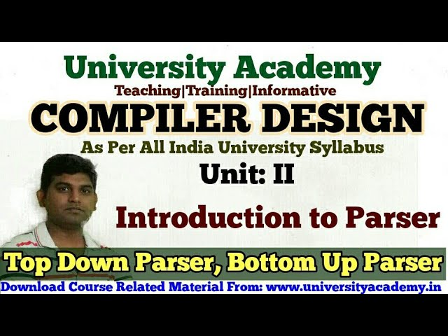 Cd15 Introduction To Parsers In Compiler Design Types Of Parser Top Down And Bottom Up Parser Youtube