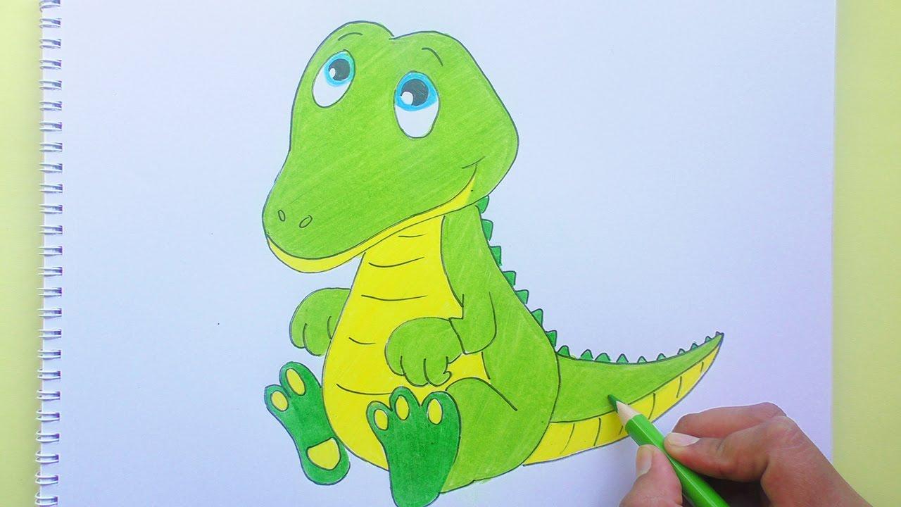 Dibujando Y Coloreando A Cocodrilo Animales Bebés Crocodile Drawing And Coloring