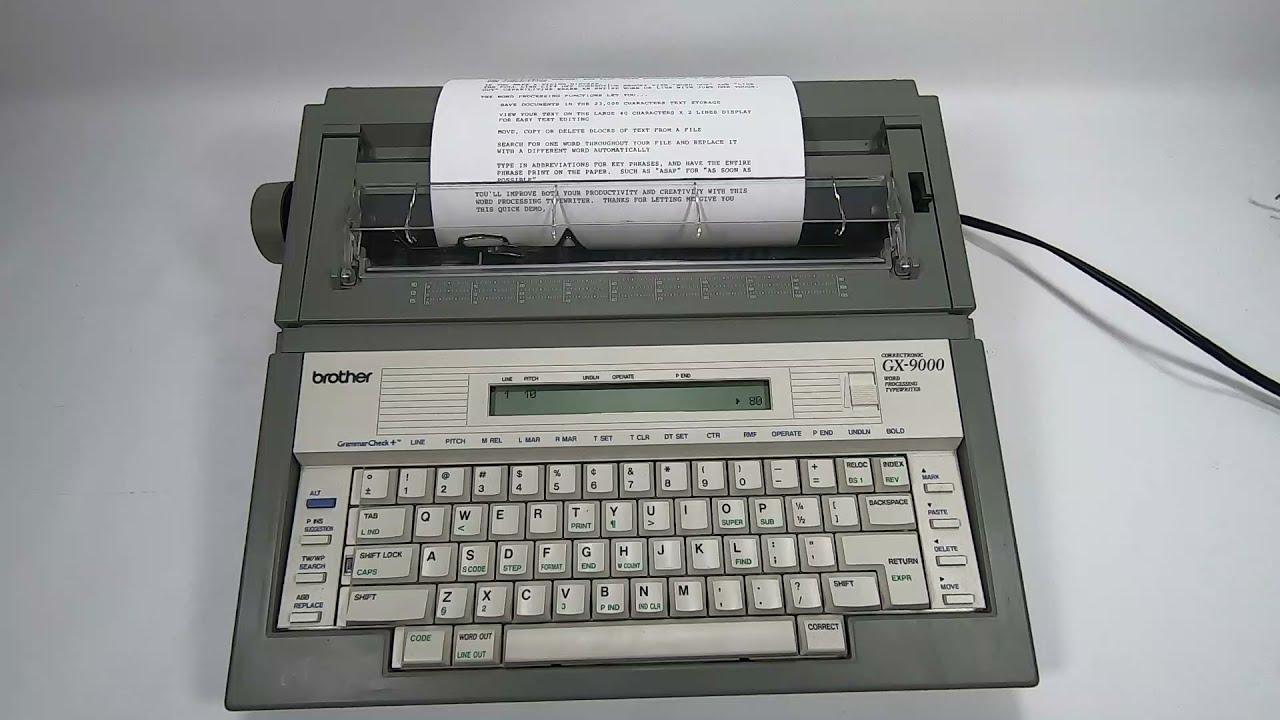 Brother GX 9000 Word Processing Correctronic Typewriter Ebay Demonstration Video