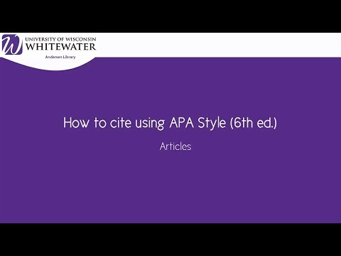 How to cite using APA style (6th ed.): Articles