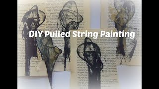 Pulled String Painting  /DIY String painting / how to paint with string/ String Art