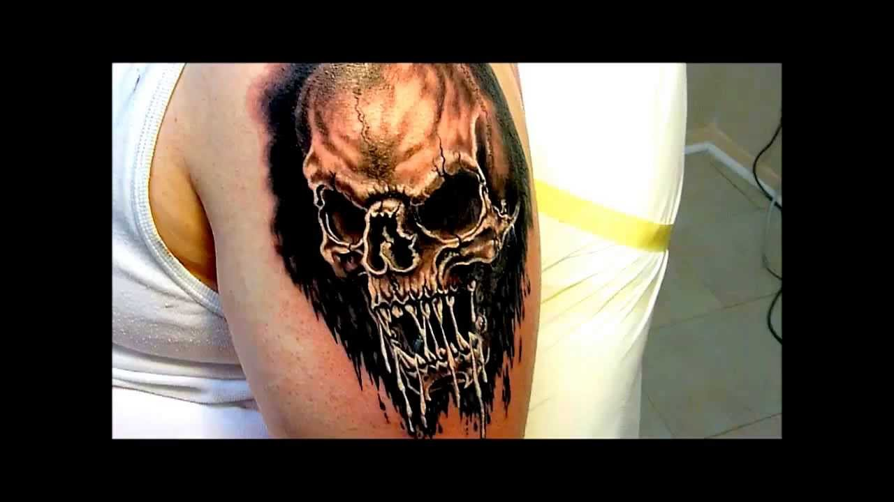totenkopf black grey sch del t towierung von rudo skinworxx tattoo hamburg youtube