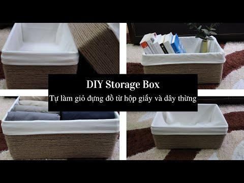 DIY Storage Box // Tự làm giỏ đựng đồ bằng hộp bìa cứng và dây thừng   Foci