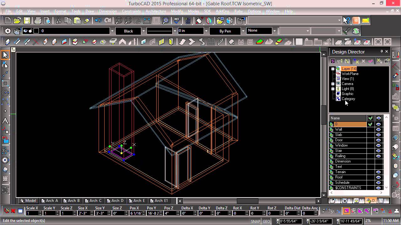 Architectural Drawing In Turbocad Quot Roof Modifiers Quot Youtube