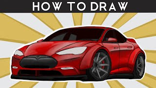 HOW TO DRAW a Tesla Model S P85D - Step by Step