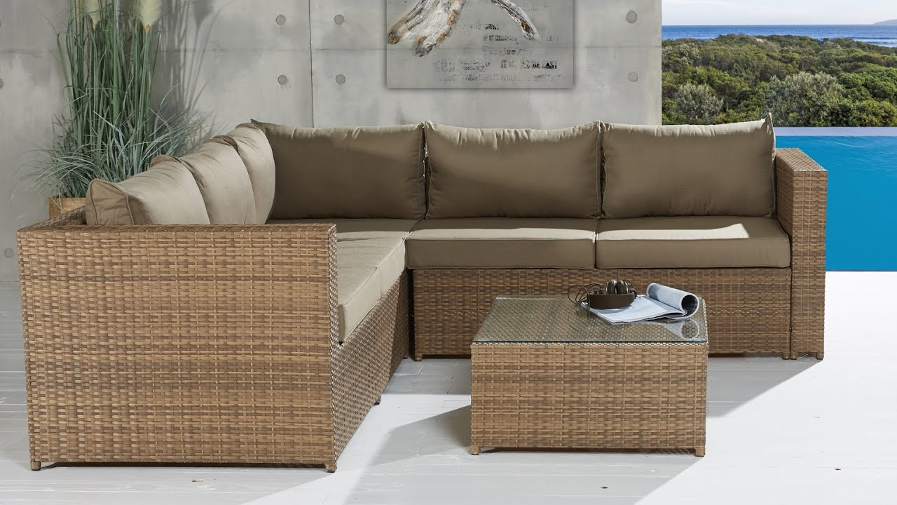 polyrattan sofalounge neapel coffee cream gartenm bel lounge youtube. Black Bedroom Furniture Sets. Home Design Ideas