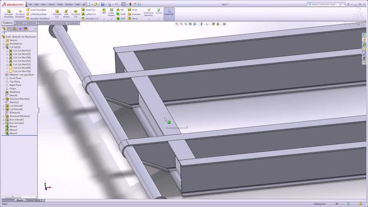 Weldment Modeling Skid Flange Wrap around a Pipe