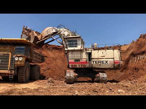 Terex RH170 Front Shovel Excavator Loading Hitachi Dumpers And Operator View