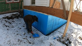 Installing a foundation under an existing building part 2: ICF, damp proofing and some backfill