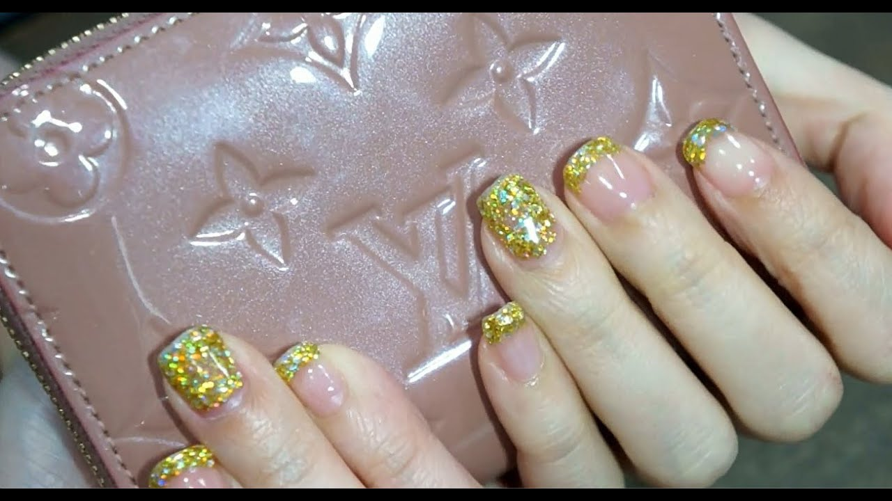 How to make glitter Gel Nails at home - YouTube