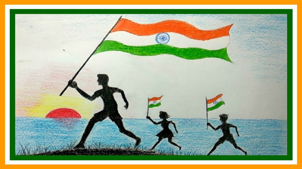 Happy independence day celebration pictures drawing ideas