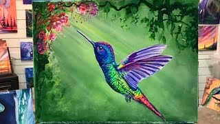 How To Paint A Hummingbird 🌺 STEP BY STEP PAINTING TUTORIAL