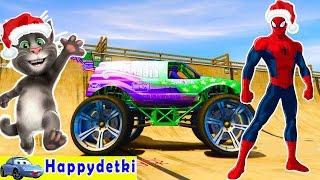 Человек паук катается на разноцветных машинках с большими колесами