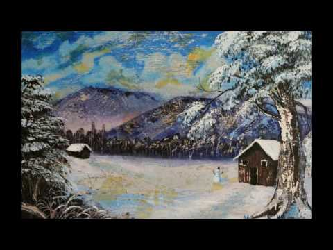 Snowy Landscape Painting!!, Acrylic/Silver leaf