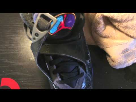 Cleaning Jordan retro 8 Aqua with Jason mark premium shoe cleaner