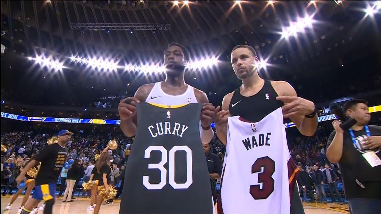 Download Dwyane Wade Swaps Jerseys With Stephen Curry - Heat vs Warriors   Februray 10, 2019