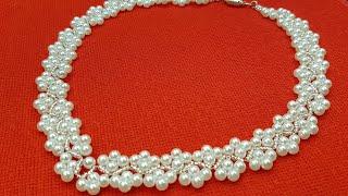 Pearl necklace/Beaded necklace/Pearl collar/Колье из бусин/Колье из жемчуга/Жемчужное ожерелье