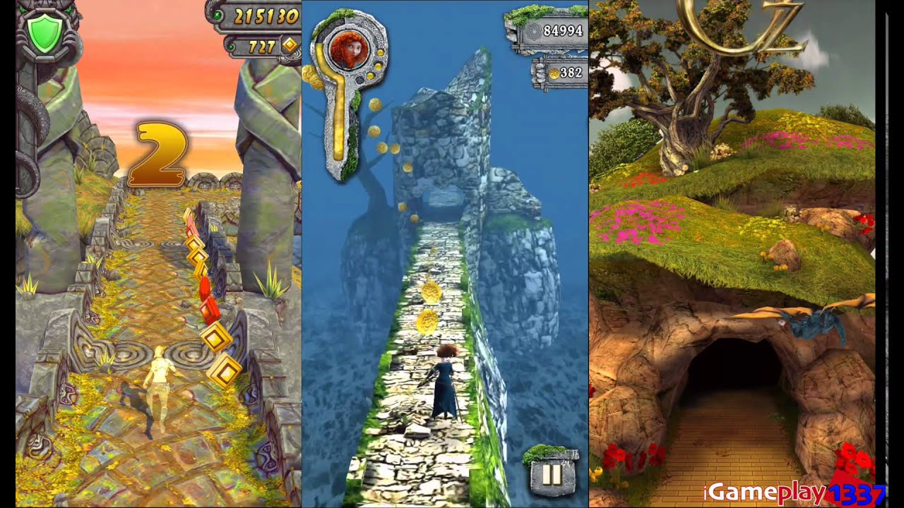 TEMPLE RUN 2 vs TEMPLE RUN BRAVE vs TEMPLE RUN OZ Free Games