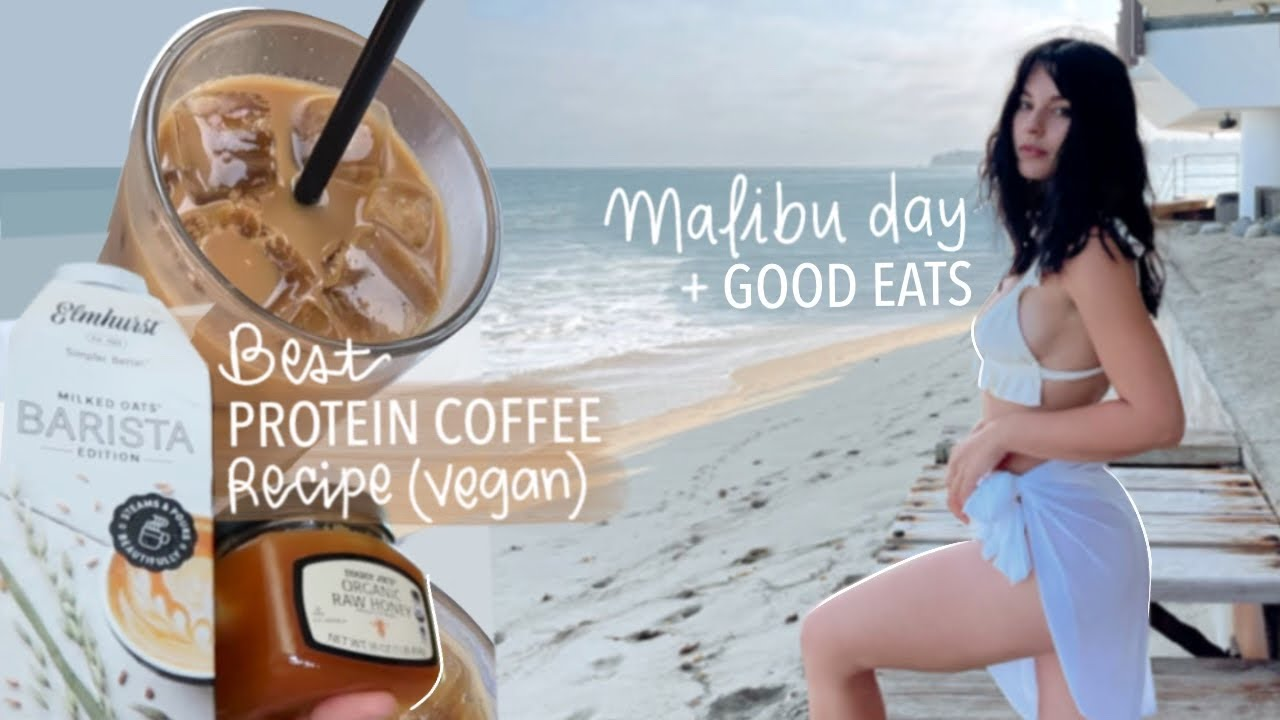 Best PROTEIN COFFEE Recipe Vegan + Day in the Life (Beach & Good Eats)