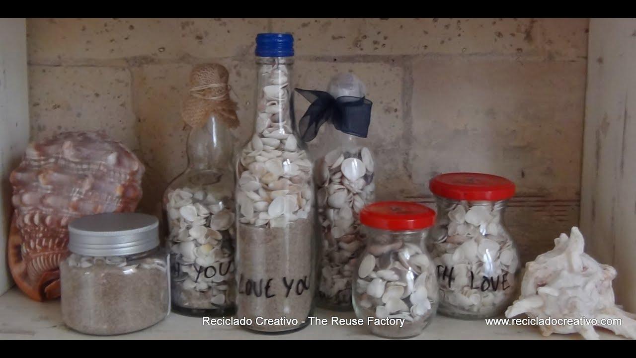 Diy con ni os una botella de cristal con recuerdos de la for Caracoles de jardin