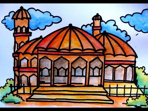 Cara Mewarnai Masjid Dengan Crayon Warna Warni Gambar