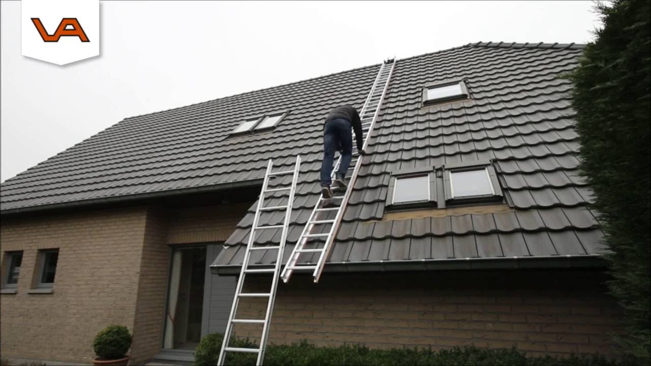 Dakdekkersladder bij bouwplaats inrichting.nl! youtube