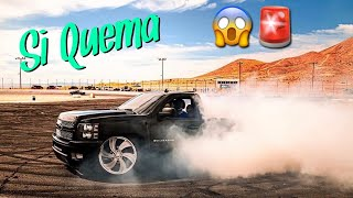 MY BIGGEST BURNOUT !! **Truck Catches On Fire**