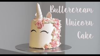 Learn how to make this trendy and cute buttercream Unicorn Cake!