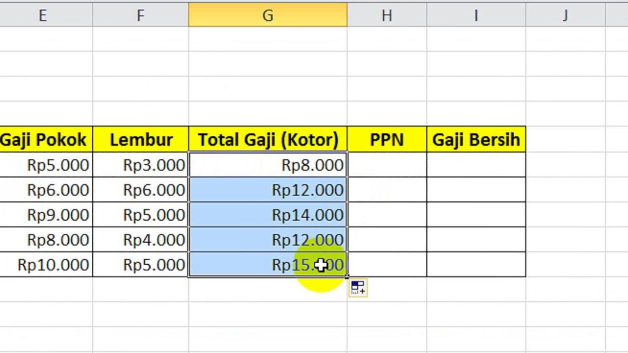 Tutorial Belajar Excel - Cara Menghitung Gaji Karyawan ...