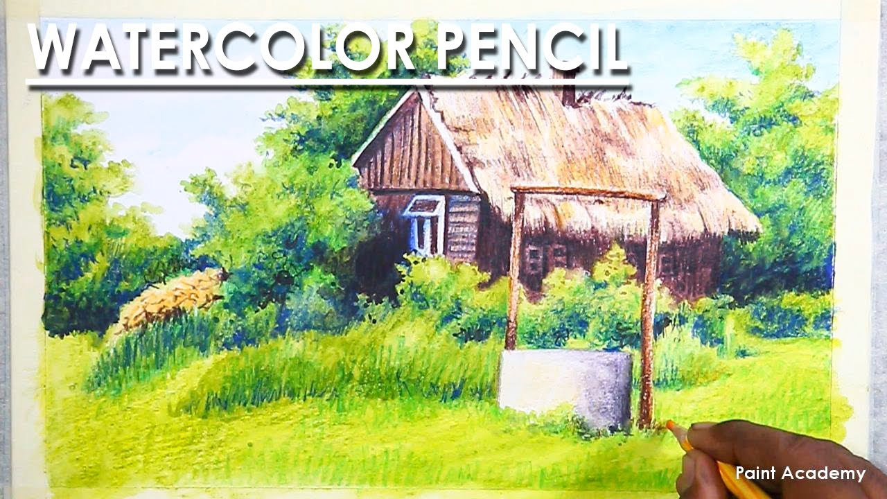 Watercolor Pencil : A Beautiful House Landscape Drawing