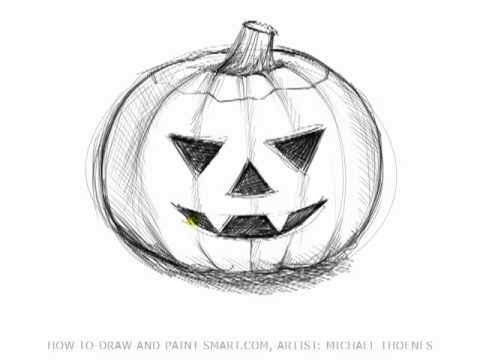 Drawing lessons how to draw halloween pictures a for Awesome pumpkin drawings