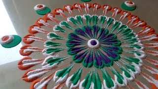 Special easy attractive QUICK rangoli for Republic day By Bucketful Creation