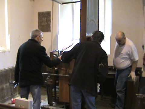 Removal of Casson Positive organ for restoration from Welton-Le-Wold Church (Pt1_