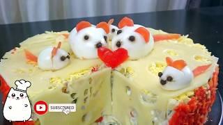 Мышки на сыре Салат на Новый Год в виде символа года Крысы