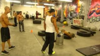 Calisthenics experts Frank Medrano Justin Cruz and Kenneth Galarzo at Metroflex Gym Long Beach