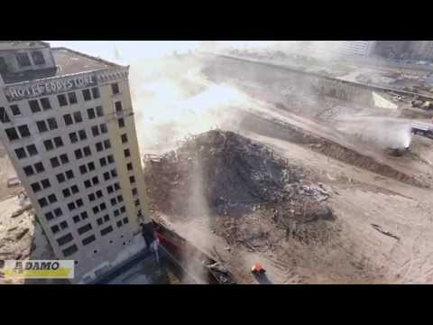 ADAMO DEMOLITION - Park Avenue Hotel Implosion - Detroit Drone Aerial Video