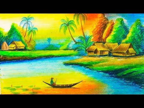How To Draw Beautiful Nature Scenery Drawing Step By Step Drawing Buzz Youtube