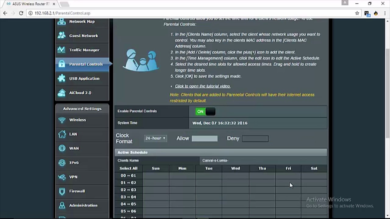 Asus Router - Parental Control Time Schedule 01